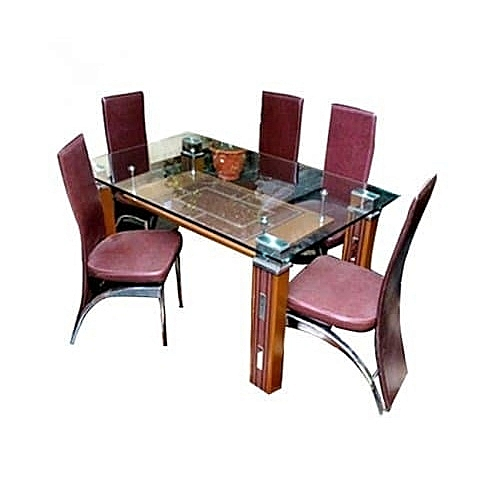 Classic Plane Glass Dinning With 6 Chairs