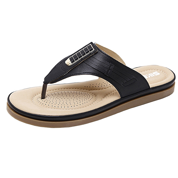 c1dfe2382dd037 Fashion Blicool Shop Shoes Summer New Sandals Womens Shoes Bohemian Wedge  Flops Buckle Beach Sandals -Black