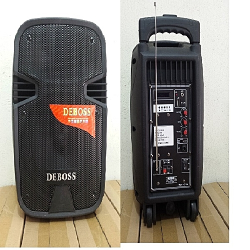 8'' Rechargeable Trolley Multimedia Speaker Two With Wireless Microphones & Bluetooth + USB And SD Card Port + FM Radio Bigger And Better-the Strongest