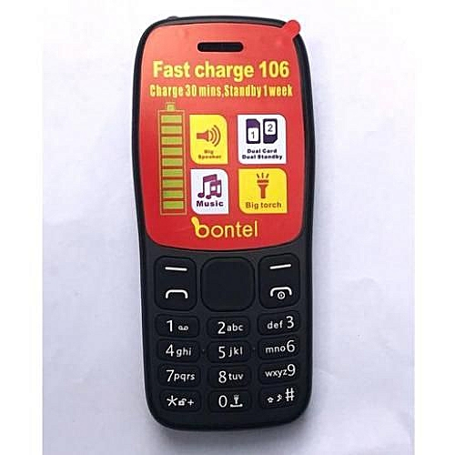 106, Dual Sim, Fast Charge,Mp3,Mp4 Wireless FM, Radio, Charge 30 Mins, Standby 1 Week, 1.77inch Colourful Screen, Flash Torch Light, Long Standby Time Battery, Up To 32GB, Powerful Speaker- Black