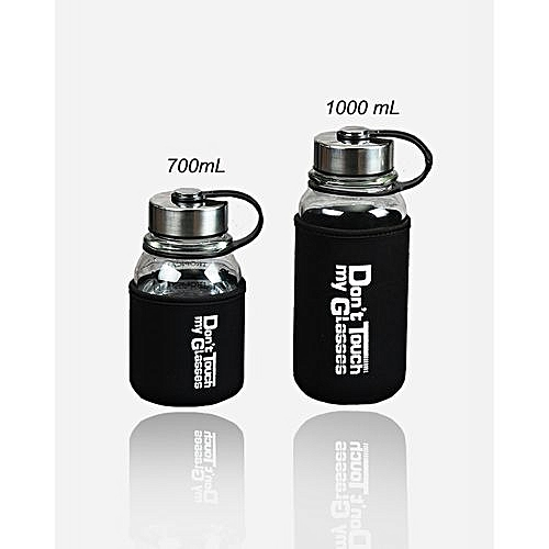 Glass Insulated Water Bottle With Metal Cover Jug – 700mL