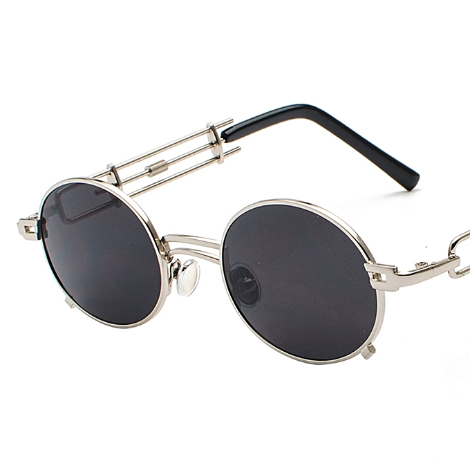 5e3ca8a9598 Retro Steampunk Sunglasses Men Round Vintage 2018 Summer Metal Frame Oval  Sun Glasses For Women-