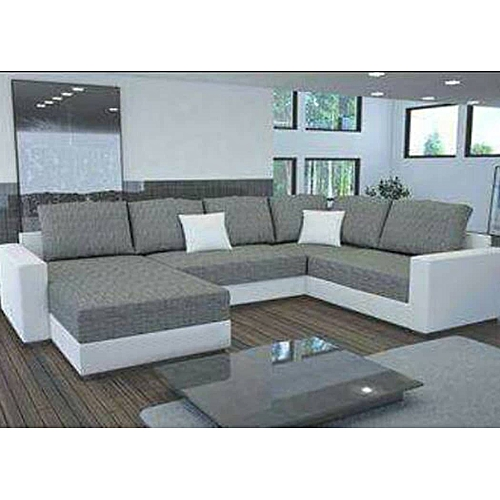 Modernized Couch/Sofa.White Leather And Ash Coloured Fabric. Order Now And Get OTTOMAN Free (DELIVERY ONLY IN LAGOS)