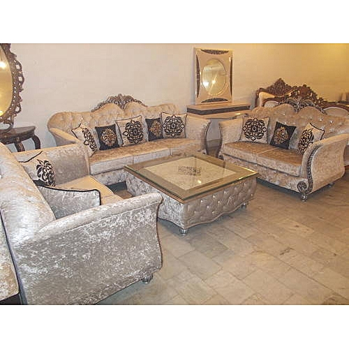 Royal Greece 7 Seater Fabric Sofa Set With Coffe Table