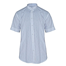 b95c633cc698 Men's Bishop Collar Polka Dot Print Short Sleeve Shirt - White/