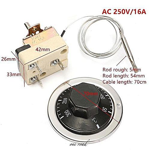 A Set Of AC 250V 16A Electric Fan Oven Thermostat Temperature Control Sensor
