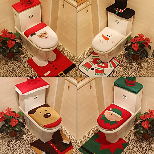 Funny Toilet Seat Cover And Rug Bathroom Set Christmas Decorations For Home Santa Claus/Snowman/Elk/Spirit