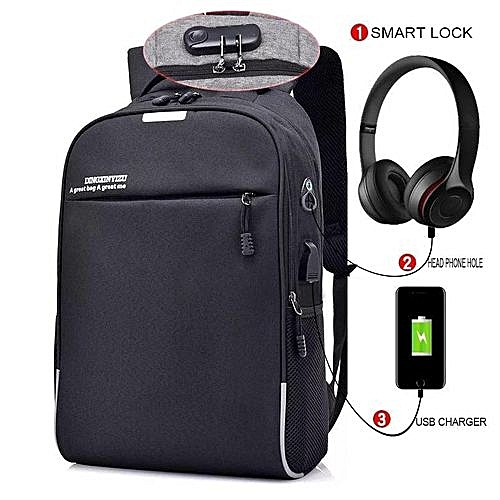 655cab31981f Generic 2019 New Anti Theft Smart Bag With Passcode Lock + Headset Jack  With USB Charging Port