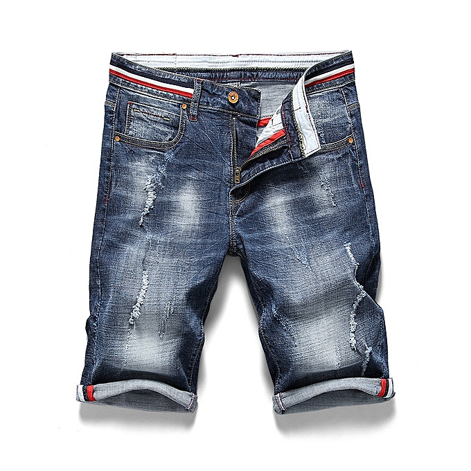 be17868dada8 Fashion Large Size Fashion Mens Ripped Short Jeans Summer Shorts Breathable  Denim Shorts Male-blue | Jumia NG