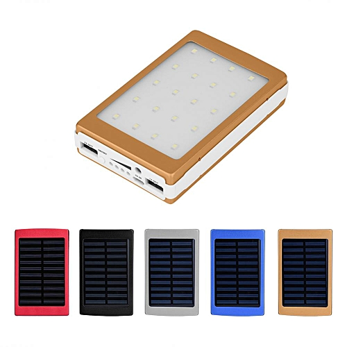 20000mAhPortable Solar Power Bank Case DIY Kit Dual USB Charger W/ Flashlight