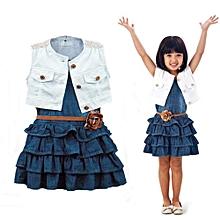 81810a73d2 3Pcs Baby Girls Denim Sleeveless Blue Dress Waistcoat Belt Kids Summer  Clothes Set