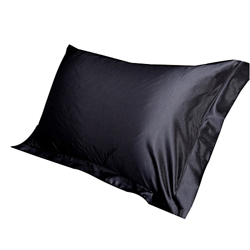 Home-2PCS/SET Soft Smooth Rectangle Solid Color Silk Satin Bedding Pillowcase Black