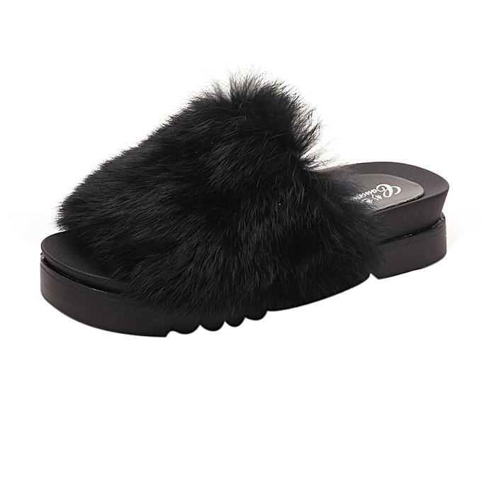 d13aaf850881 Blicool Shoes Womens Thick Bottom Sliders Fluffy Faux Fur Flat Slipper Flip  Flop Sandal BK
