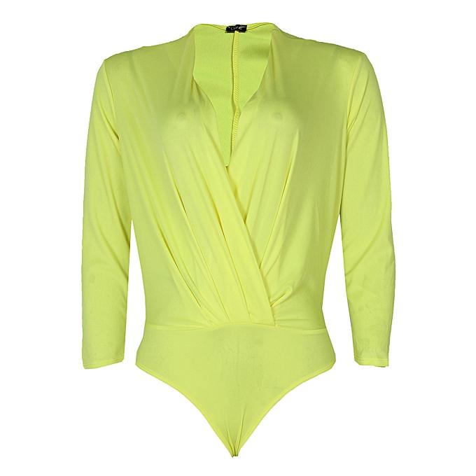 Canill Long Sleeve Drape Bodysuit Blouse - Yellow  75fd4a2c3