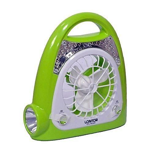 Electric Rechargeable Lamp & Fan - Green