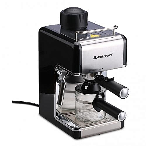 MINI Stainless Steel Steam Espresso And Cappuccino Maker 4-Cup(800W 3.5bar) - Black
