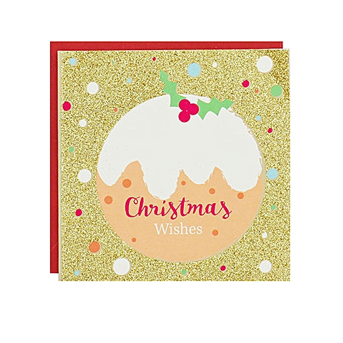 8-Pack Gold Glitter Christmas Pudding Luxury Christmas Cards