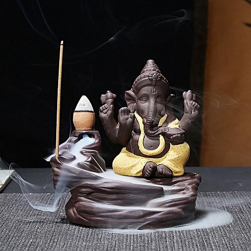 India Elephant God Ganesha Backflow Incense Burner Censer Holder Decor Gift