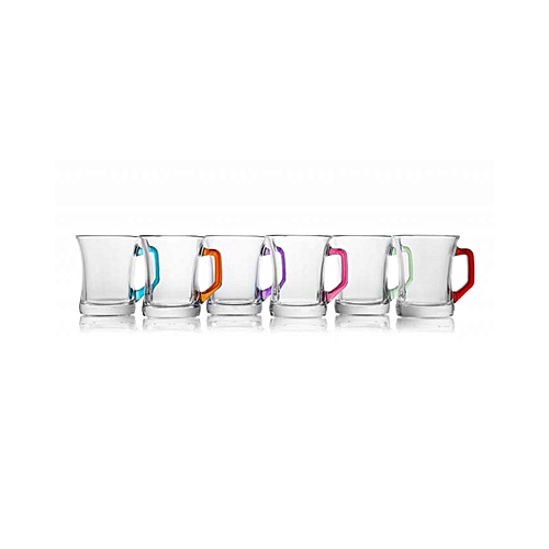 Coloured Tea and Coffee Glass, 6 Pack