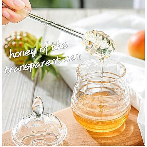 1PC Honey Jar With Dier Honeycomb Acrylic Honey Dispenser Creative Plastic Jam Pot Sauce Oil Bottle JO 1069 HLS