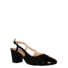 2dca86116e50 Mid Heel Cover Front Sandal- Black