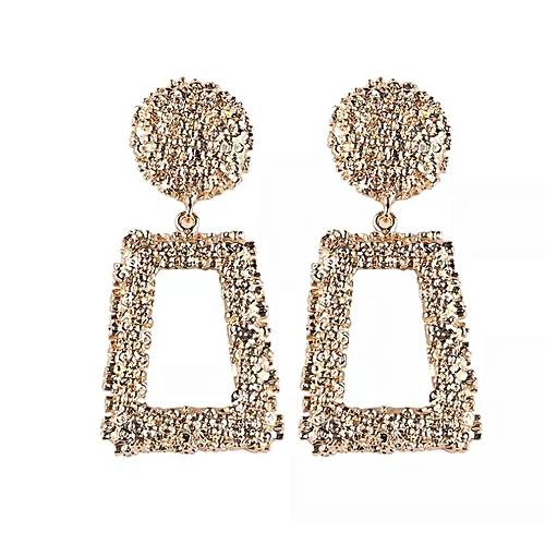 Vintage Large Square Dangle Earrings - Gold