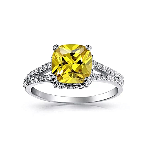 BLiNG Bling Jewelry 925 Silver 2 Carat Cushion Cut Canary CZ Wedding Engagement Ring