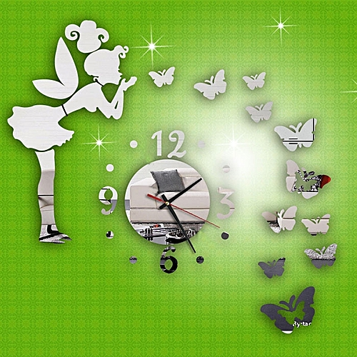 Dtrestocy Modern Style Butterfly Fairy DIY Mirror Wall Clock Wall Sticker Home Decor