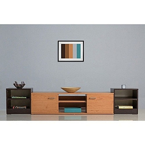 TV Stand Combo - Brown 5ft -(DELIVERY WITHIN LAGOS ONLY)