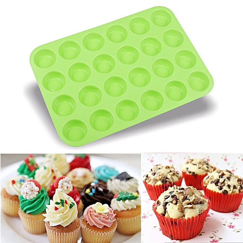 Lightning 24 Cavity Mini Muffin Silicone Soap Cookies Cupcake Bakeware Pan Tray Mould-Green