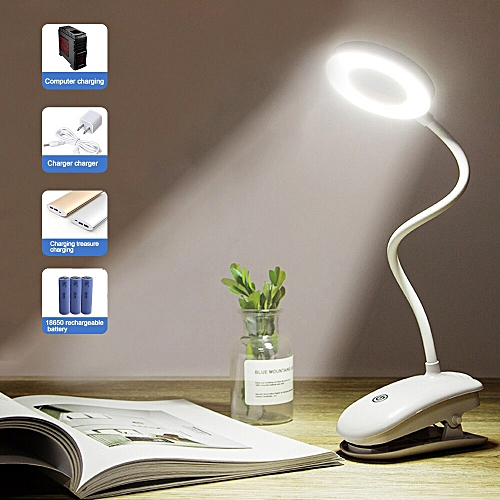 18 LEDs Touch On/off Switch 3 Modes Clip Desk Lamp 7000K Eye Protection Desk Light Dimmer Rechargeable USB Led Table Lamps(Dual-use Type)
