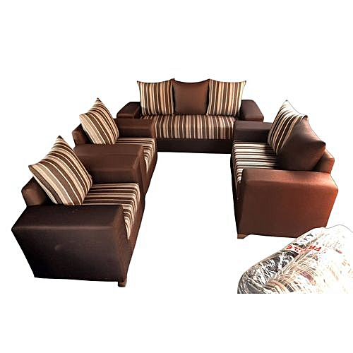 Complete Set Of Sofa Chairs Couches Of 7 Seaters - Brown