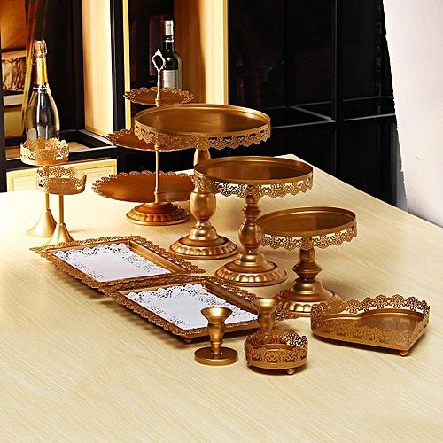 12pcs/Set Crystal White Metal Cake Holder Cupcake Stand Wedding Display Gifts