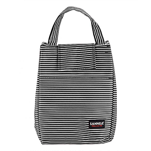 Portable Insulated Work Travel Picnic Lunch Bag Striped Food Storage Pouch Container Black