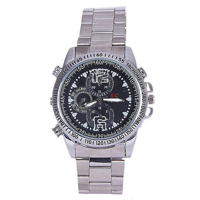 32G Waterproof HD Hidden Camera Wrist Watch - Silver