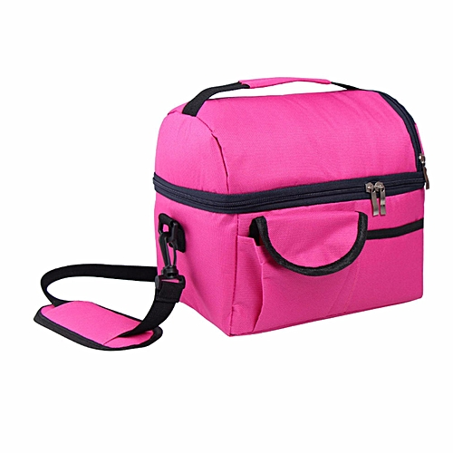 Insulated Portable Tote Work Picnic Travel Lunch Ice Bag Double Layer Fuchsia