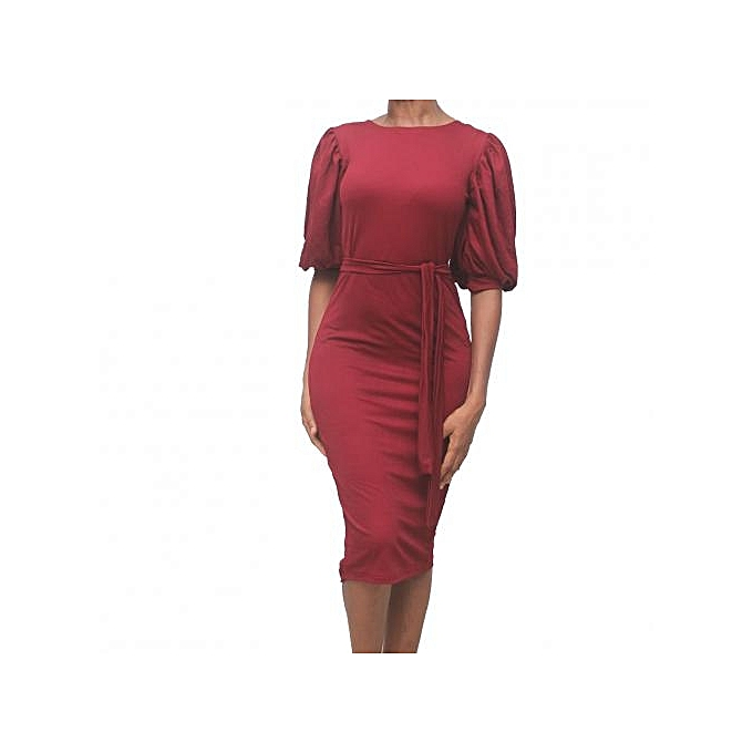 743be29d9b30 Virtue Clothier Sasha Puff Sleeve Dress - Wine