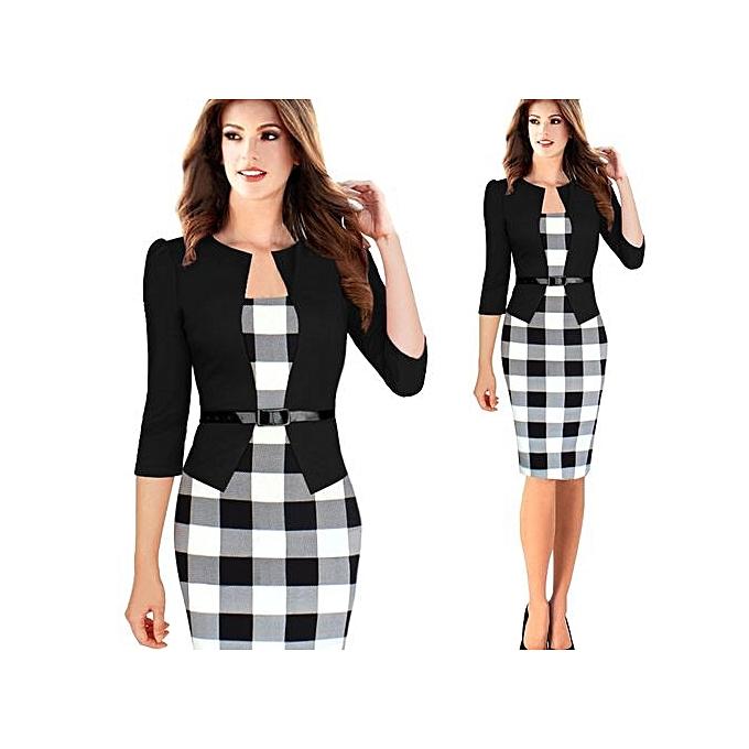 28b0d54561d 3 4 Sleeve Women Office Dress Plus Size Faux Jacket One-Piece Bodycon  Vestidos