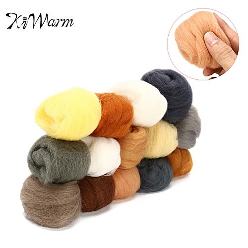 KiWarm 14color Set DIY Wool Needle Felting Spinning Multi Colors Kit