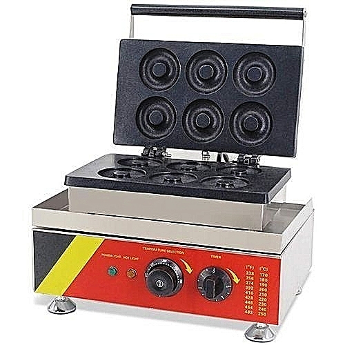 Commercial Donut Maker Machine Non-stick Stainless Steel 6 Pieces Waffle Maker Automatic Electric