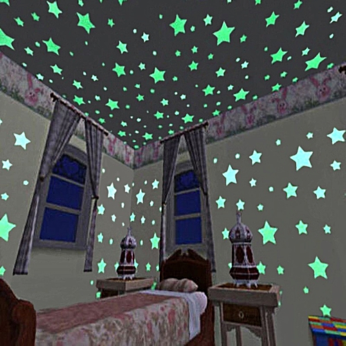 100PCS Star Wall Stickers For Kids Room Glow Transparent