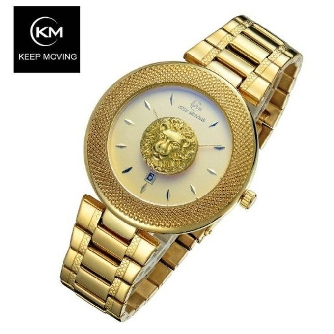 Keep Moving Victorious Lion Wrist Watch-full Gold