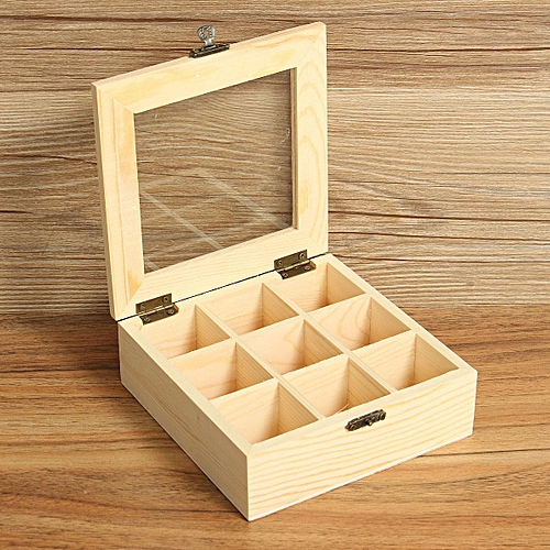 3PCS 9 Compartments Wooden Tea Bag Jewelry Organizer Chest Storage Box Glass Top Log