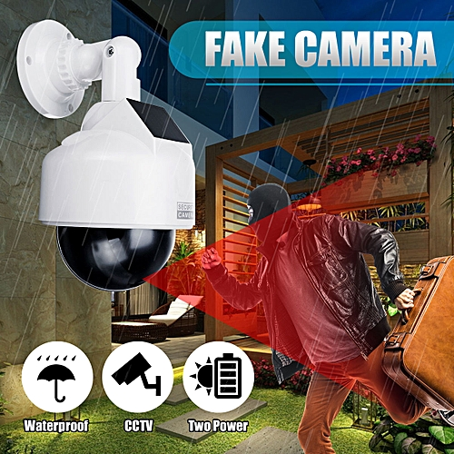 Solar Power Fake Camera CCTV Realistic Dummy Security Cam Simulation Monitor