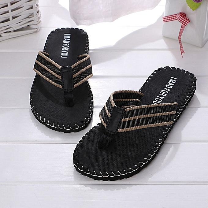 2b469ec4fd9cdf Fashion Jiahsyc Store Men Summer Shoes Sandals Male Slipper Indoor Or Outdoor  Flip Flops BK 40-Black