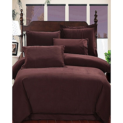 Plain Cotton Bedsheet - Brown 6ft*6ft 4 Pillow Cases