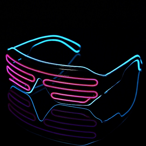 Novelty LED Glasses Double-colored Flashing Eyeglass Rave Wedding Party Luminous Glowing EL Fluorescent Glasses For Halloween