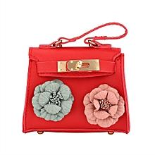 cd3bda33d36 Fashion PU Leather Tote Handbag Flower Decoration Women Crossbody Shoulder Bag  Red