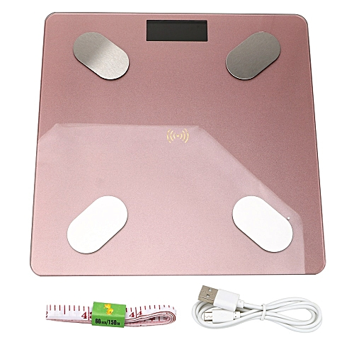 Household Electronic Weight LED Digital Weight Floor Scale Scientific Smart APP Android Or IOS Body Fat Scale USB Rechargeable(Pink)