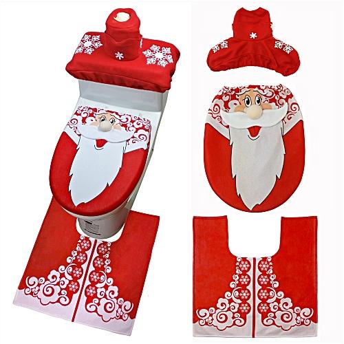 Christmas Snowman Toilet Seat Cover Happy Santa Closestool Decorations Rug Set